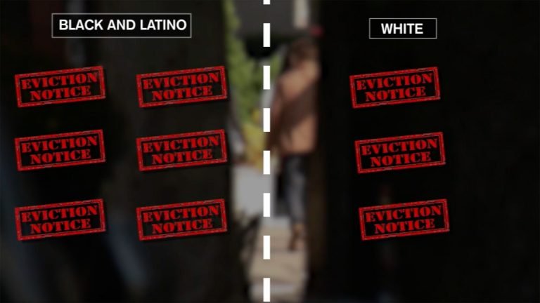 Visual depicting twice as many evictions for black and latino people than for white people