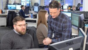 Image of Brian Kosciesza and Dan Haggerty in the KGW newsroom