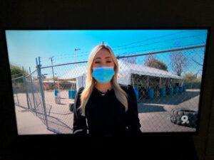 """Photo of KGUN's Megan Meier (Cronkite grad!) reporting for the KGUN 9 Now streaming news """"wheel."""""""