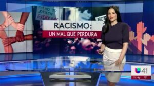 "Screenshot from a late-news report on ""Racism: An Enduring Evil"""