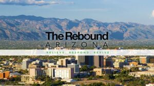 """Advertisement for KGUN 9 weekly 30-minute show, """"The Rebound Arizona"""" with small city in foreground and mountains in background. """"Relieve. Respond. Revive"""""""