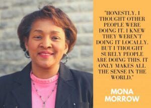 """Image of WCPO Community Affairs Director Mona Morrow and her quote, """"""""""""Honestly, I thought other people were doing it"""""""