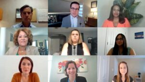 Image of nine people participating in a zoom journalism pilot